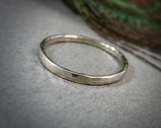 glimmer ... solid 14k white gold stack ring, 14k white gold Wedding band, 2 mm hammered gold band, simple gold ring, gifts for her