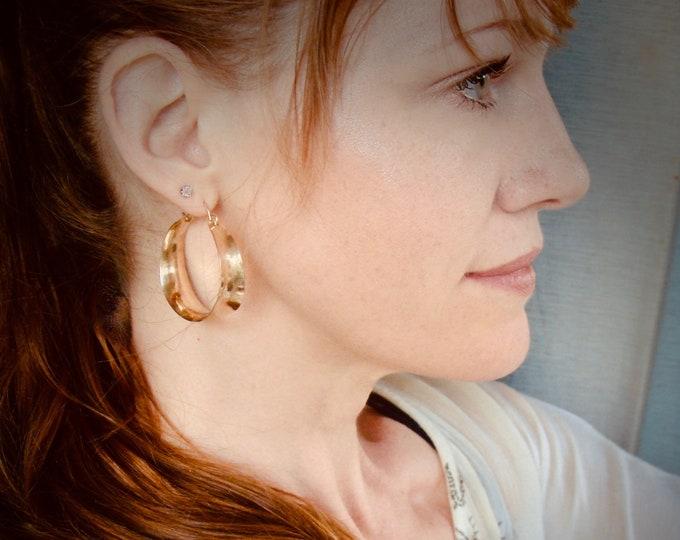 medium golden saddle ... 14k gold fill hoops, lightweight hoops, handmade jewelry, gifts for her