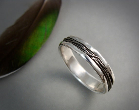 intertwined ... titanium and palladium silver band ring, weddings, wedding band,  mixed metal ring