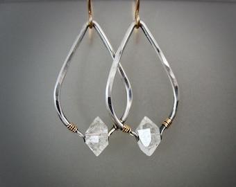 higher realms II ...Herkimer diamond dangles, mixed metal earrings, boho jewelry, Herkimer diamond earrings