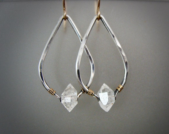 higher realms II ...Herkimer diamond dangles, mixed metal earrings, boho jewelry, Herkimer diamond earrings
