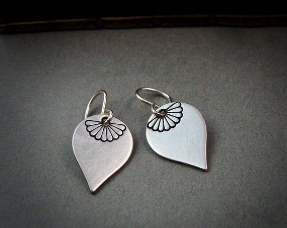journey petals ... sterling silver dangles, petite earrings, petal earrings, simple earrings, handmade jewelry, gifts for her