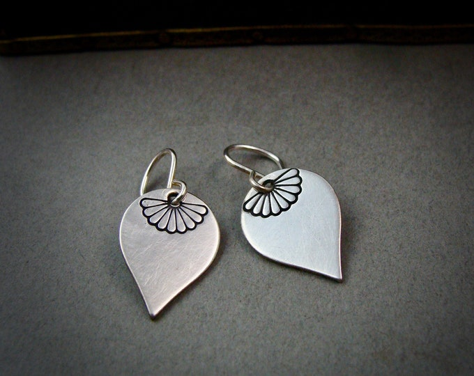 journey petals ... sterling silver dangles, petite earrings, petal earrings, simple earrings, handmade jewelry, gifts for her