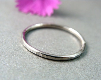 petite solid 14k white gold stack ring, hammered band ring, hammered gold ring, gifts for her