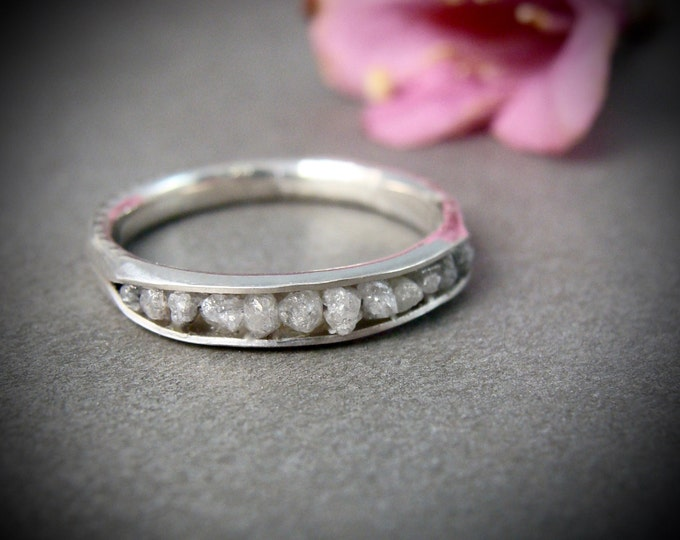 raw diamonds in palladium silver, raw diamond band ring, raw diamond stack ring