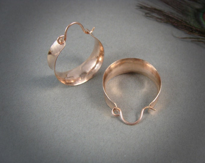 golden saddle ... 14k rose gold fill hoops, lightweight hoops, handmade jewelry, gifts for her