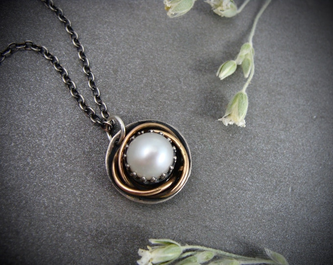 nest .. mixed metal pendant, pearl necklace, pearl pendant, pearl jewelry, gifts for women, gifts for her