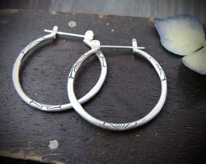 sm journey... sterling silver hoops, small hoops, imprinted jewelry, gifts for her