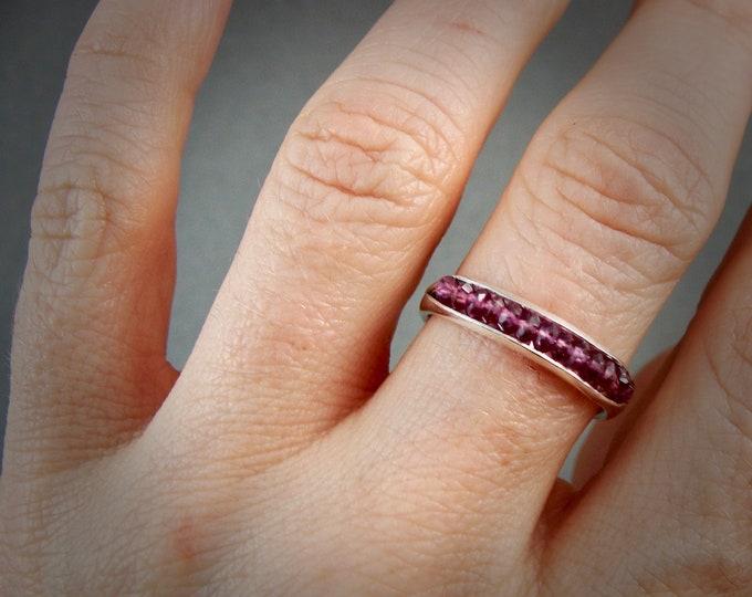 pink garnet …. gemstone and silver stack ring, band ring, silver ring, gifts for her, garnet ring