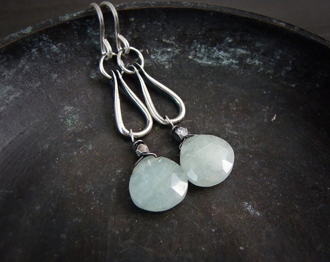 industria .. aquamarine and sterling silver earrings, gifts for her