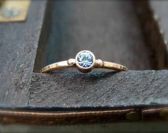 tiny water spirit ... solid 14k gold aquamarine stack ring, gifts for her, petite gold ring