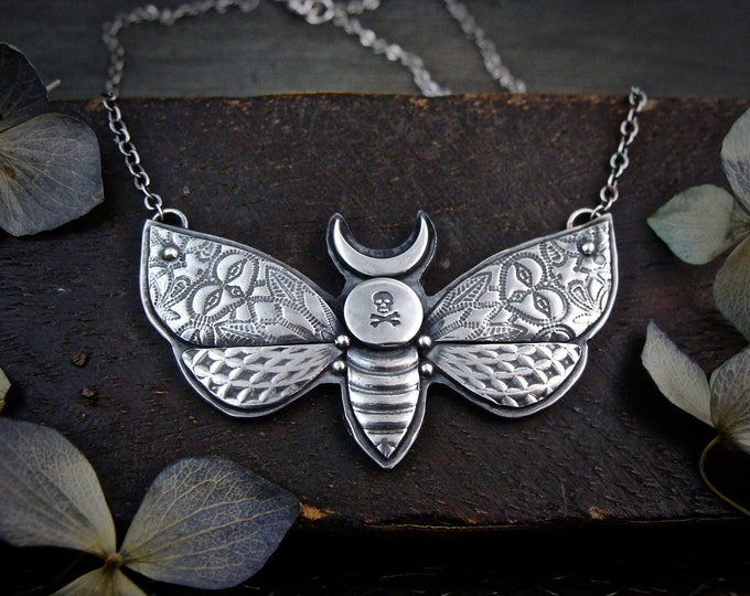 Death-head moth ... handmade sterling silver pendant, gifts for her, unique jewelry, moth pendant