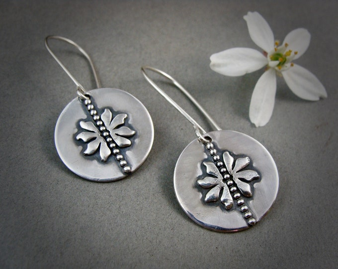 flora ... sterling disc dangles, handmade jewelry, gifts for her