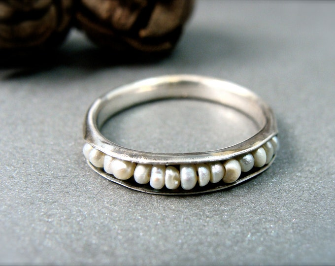 Salish sea … sterling silver and pearl stack ring, silver stack ring, pearl ring