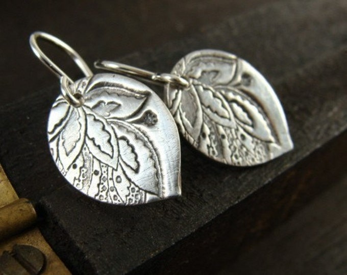 gypsy petals.. sterling silver drops, small petals earrings, gifts for her