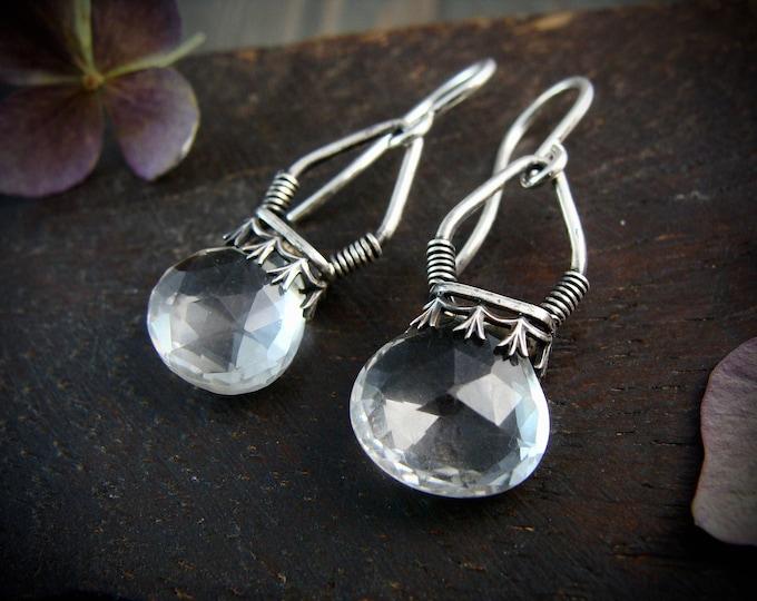 quartz crystal lanterns ... gemstone earrings, sterling silver dangles, quartz earrings, 925, handmade jewelry, gifts for her