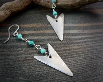 arrow ... sterling silver turquoise dangles, handmade jewelry, arrowhead jewelry, boho jewelry ,gifts for her