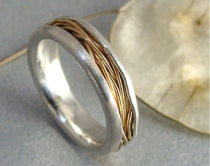 intertwined ... solid 14k gold and silver band ring, Weddings, mixed metal ring