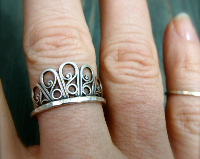 floret ... sterling stack ring, filigree ring, silver stacking ring, gifts for her