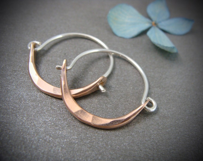 mini minimalist … rose gold and sterling mixed metal hoops, small hoops, gifts for her