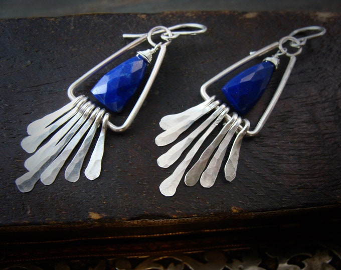 on the fringe ... sterling silver and lapis dangles, handmade jewelry, silver dangles, gifts for her