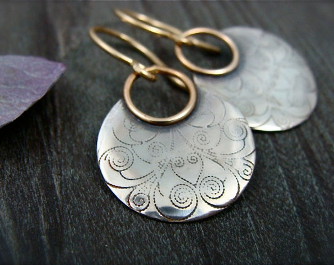 printed moon ... mixed metal earrings, patterned silver, sterling silver earrings, unique jewelry, gifts for her