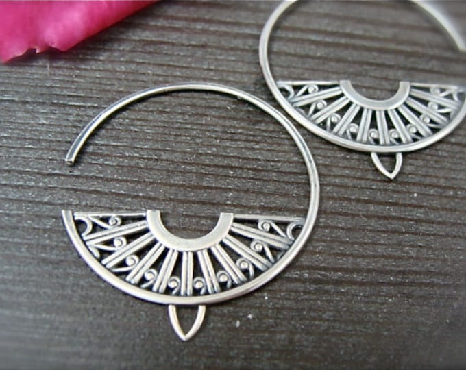 deco hoops ... sterling silver earrings, gifts for her, handmade jewelry, art deco jewelry