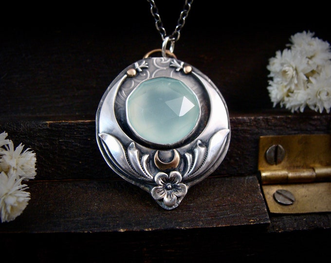flower moon … chalcedony pendant, silversmith jewelry, art deco jewelry, gifts for her
