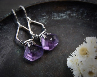 amethyst lanterns ... gemstone earrings, sterling silver dangles, amethyst earrings, gifts for women, gifts for her