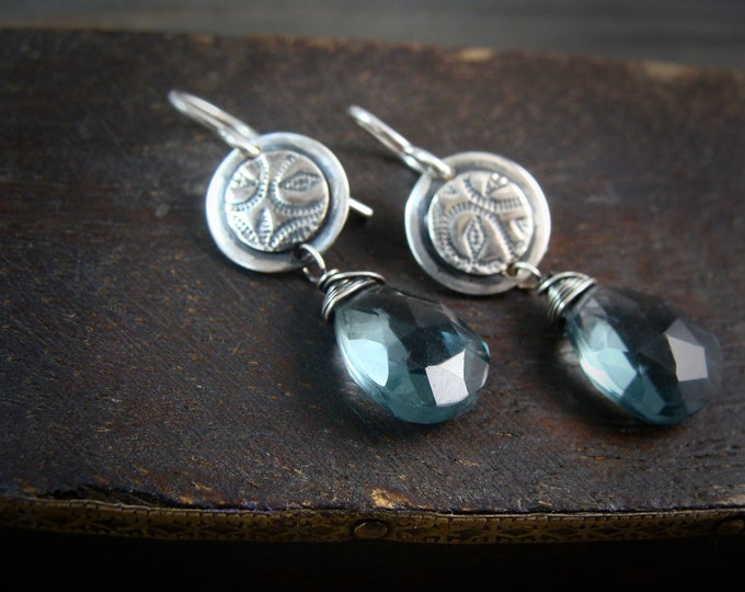 hydro quartz ... gemstone earrings, sterling silver dangles, imprinted jewelry, blue quartz earrings, 925, gifts for her