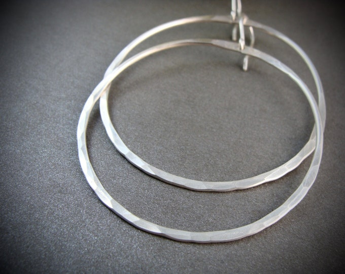 silver moon ... large sterling silver hoops, hammered sterling hoops, large round hoops, gifts for her