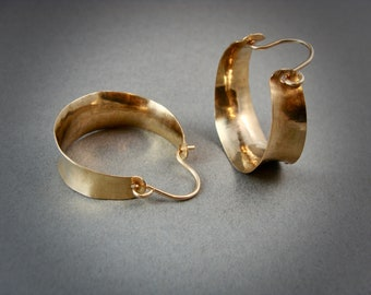 golden saddle ... 14k gold fill hoops, lightweight hoops, handmade jewelry, gifts for her