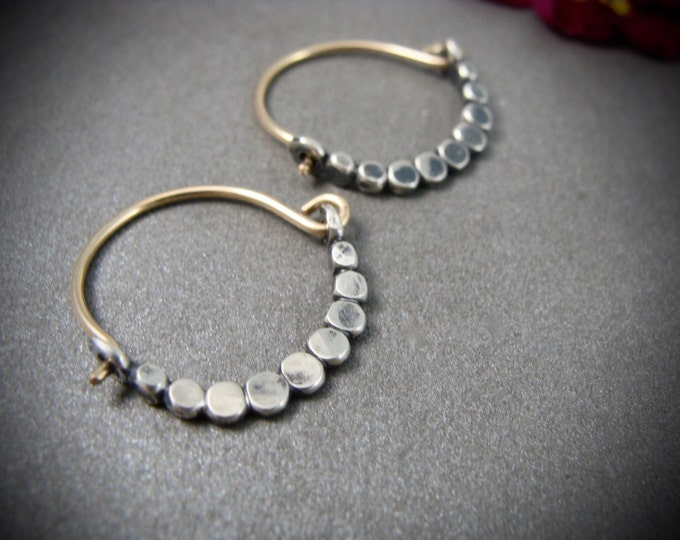 petite beaded minimalist ... mixed metal hoops, small hoops, handmade jewelry, gifts for her