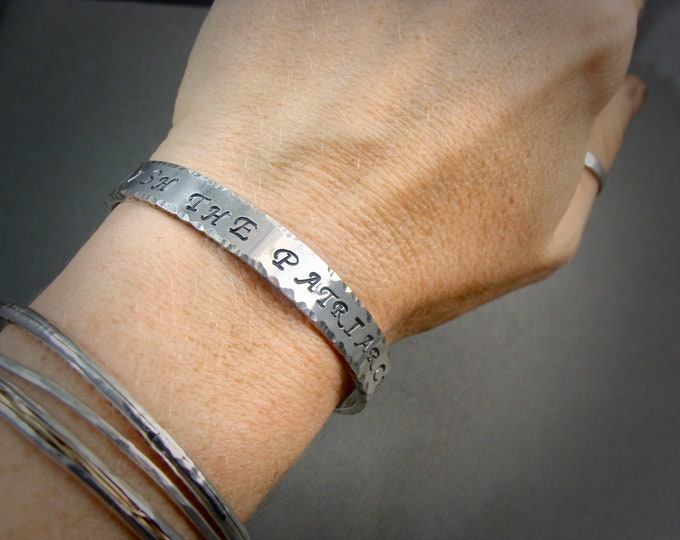 Smash The Patriarchy ... solid sterling silver cuff, silver cuff, imprinted jewelry, 925, feminisms