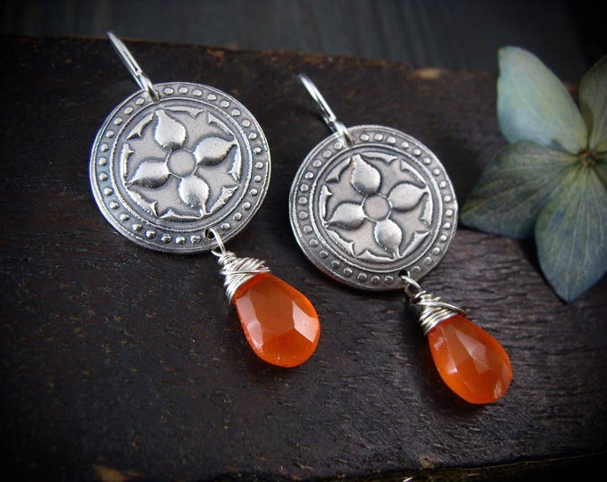 Montespan ... silver and carnelian earrings, gifts for her, imprinted earrings