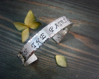 Smash The Patriarchy ... solid sterling silver cuff, silver cuff, imprinted jewelry, 925, gifts for her
