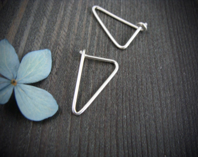 simple geometry ... sterling silver earrings, geometric earrings, simple earrings, gifts for her
