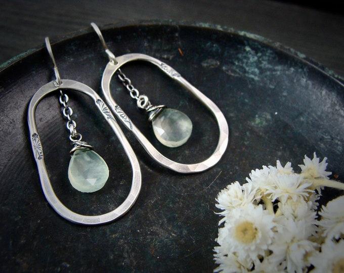 prehnite meadow hoops.. gemstone hoop earrings, sterling silver dangles, prehnite earrings, gifts for women, gifts for her