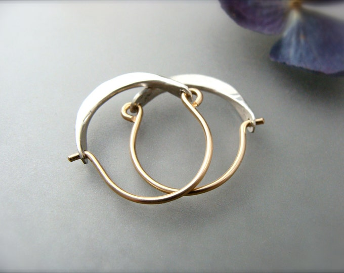 mini minimalist ... 14k gold filled and sterling hoops, handmade jewelry, hammered sterling earrings, small hoops