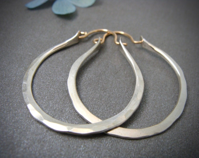 dawning ... sterling silver hoops, mixed metal hoops, hammered silver, gifts for her