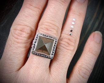 pyrite pyramid cocktail ring.... sterling silver rings, pyrite jewelry, gifts for her, pyramid ring