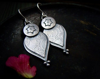 mehndi petals ... sterling silver dangles, handmade jewelry, silversmith jewelry, gifts for her