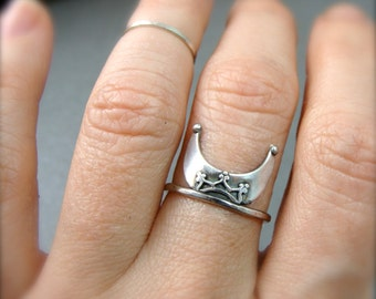 witchy woman crescent moon stack ring, sterling silver ring, 925