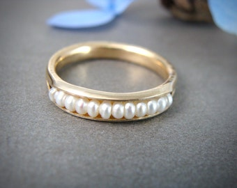 solid 14k gold seed pearl ring ... gold stack ring, pearl rings, pearl band ring, classic pearl ring, solid 14k gold pearl ring