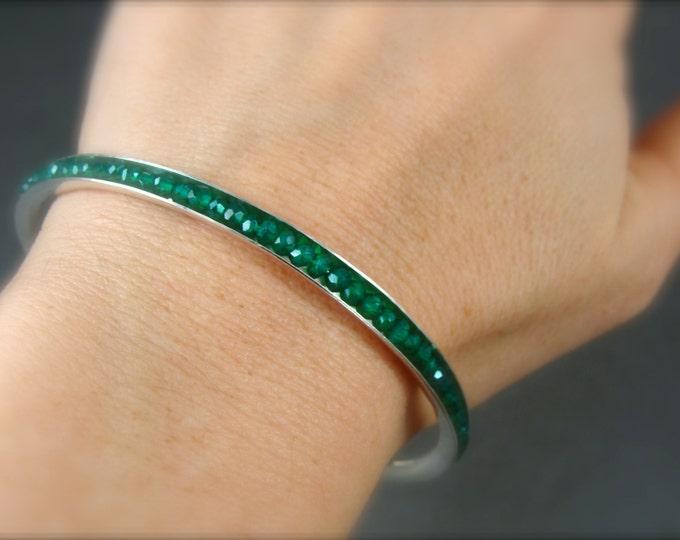 green onyx stack bangle, gemstone bangle, gemstone bracelet, onyx bangle, silver bangle, 925, gifts for her
