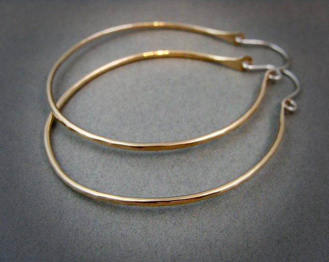 large oval hoops ... 14k gold filled earrings, mixed metal hoops, hammered gold hoops, large hoops, gifts for her