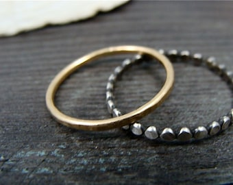 deco stack ... mixed metal hammered stack rings, oxidized silver ring