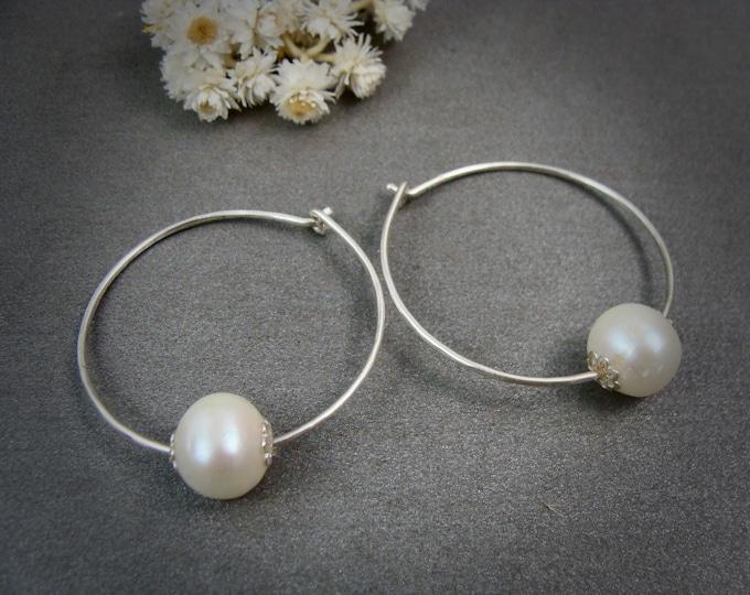 pearl flower hoop ... sterling silver hoops, pearl hoops, small hoops, Bridesmaid gifts, classic pearls, pearl jewelry, gifts
