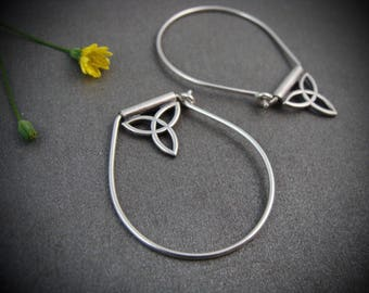 trefoil trapeze hoops... sterling silver hoops, gifts for her, handmade jewelry, Celtic jewelry
