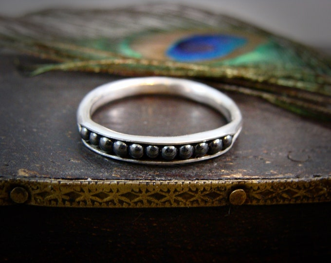 petite hematite sterling silver stack ring, thin band ring, hematite ring, gifts for her